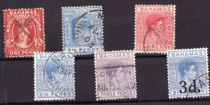 Assortment of 6 old Bahamas postage stamps - Used VF -  superfleas
