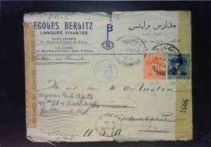 Egypt 1944 Censored Cover to USA (Edge / Side Tears) - Z1596