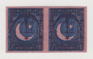 Pakistan Sc 27 var MNG. 1948 1a dark blue on pink TRIAL PRINT, horizontal pair
