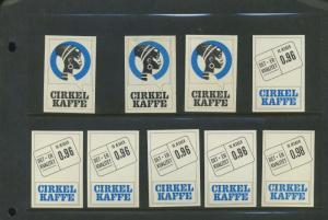 9 CIRKEL KAFFE DET ER KVALITET COFFEE POSTER STAMPS (L1108) NORWAY SWEDEN