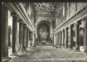 J) 1965 ITALY, POSTCARD, RICHTER-ROMA, INSIDE THE CHURCH OF THE DE. S MARIA IN T