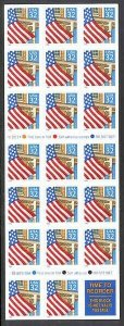 MALACK 2920a, 32c Flag Over Porch,  Booklet Pane of ..MORE.. bp2920a