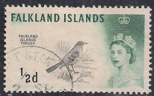 Falkland Islands 1962 QE2 1/2d Austral Thrush DLR  SG 193a ( G110 )