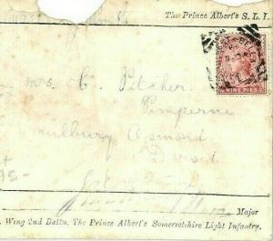 INDIA MILITARY Cover 1893 Soldiers Letter SOMERSET LIGHT INFANTRY {samwells}CW72