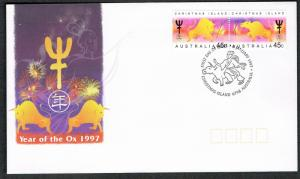 Christmas Is. Chinese New Year 'Year of the Ox' 2v FDC SG#434-435