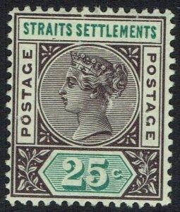 STRAITS SETTLEMENTS 1892 QV 25C