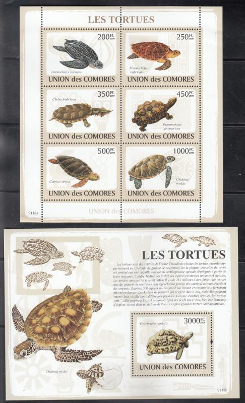 Comoro Islands  2009 Turtles  Marine Life  M/S + 6v S/S (2) Sheets  75446