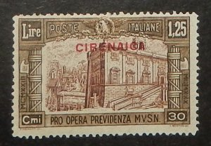 Cyrenaica B27. 1930 1.25L+30c Olive brown and red brown