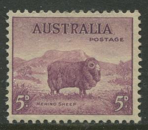 Australia - Scott 172a -  Kangaroo -1938- MLH - Perf.14 x 13.5 - Single 5d stamp
