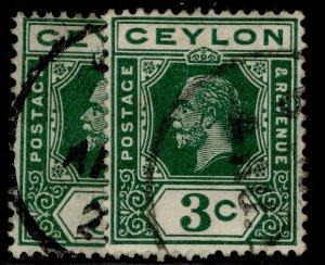 CEYLON GV SG308 + 308a, 3c SHADE VARIETIES, FINE USED.