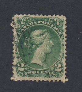 Canada Large Queen Used Stamp #24-2c VF Guide Value = $130.00