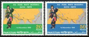 Pakistan 279-280, Mint.Pakistan Intl.Airways' Dacca-TokyoPearl Route,Map,1969