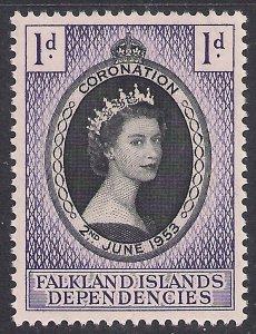 Falkland Island Depd 1953 QE2 1d Coronation MM SG G25 ( L1029 )