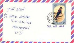 Saint Lucia 10c American Kestrel 1976 Anse-La-Raye, St. Lucia Airmail to Mont...