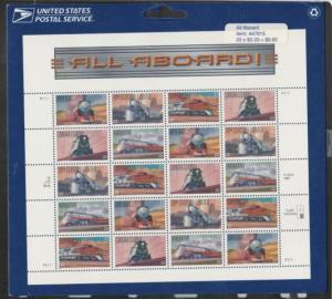 U.S. Scott #3333-3337 Train Stamps - Mint NH Sheet - LR Plate - IN PACKAGE