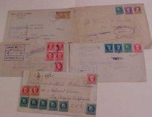 CUBA  5 REGISTERED  COVERS 1920's , 4 BACKSTAMP USA, 1 B/S MALTA