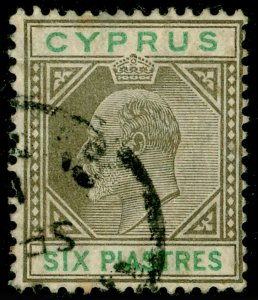 CYPRUS SG67, 6pi sepia & green, USED. Cat £15.