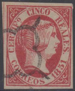 SPAIN 1851 QUEEN ISABELLA II Sc 9a ROSE CARMINE FORGERY MUTE CANCEL FVF (CV$360)