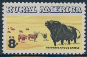 #1504a 8c RURAL AMERICA GREEN & RED BROWN COLORS OMITTED ERROR W/ PF CERT HW4198