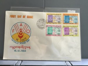 Burma 1984 FDC World Food Day  stamp cover R29047