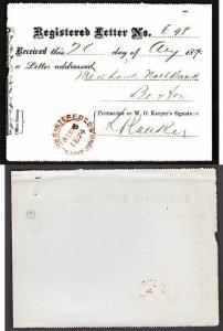 Canada #11013 - Registered letter receipt - Saint John, NB - Au 26 1874 -