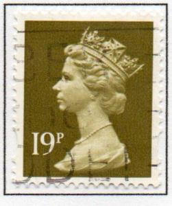 Great Britain Sc MH208 1993 19p olive green  QE II  Machin Head stamp used