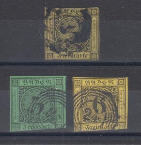 Baden Sc 2, 7, 9 used. 1851-53 Numerals, 3 different, small faults