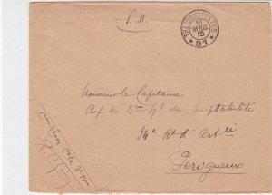 France WW1 French Military 1915 Tresor Et Postes No 91 Cover Ref 30956