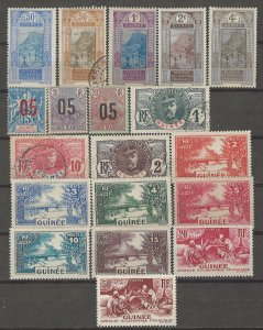 COLLECTION LOT # 4235 FRENCH GUINEA 19 STAMPS 1906+ CV+$12.50