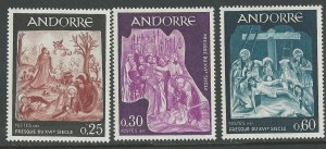 Andorra-French # 176-80  Fresco Art    (3) Mint NH