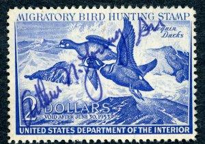 #RW19 – 1952 $2.00 Harlequin Ducks. Used.