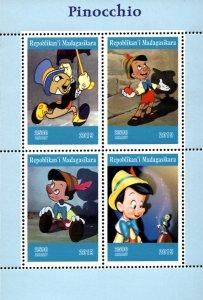 Madagascar 2019 Pinocchio Jiminy Cricket Disney Cartoon 4v MNH S/S (#014)