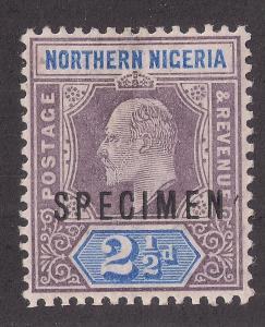 NORTHERN NIGERIA: 2 1/2d Key Plate Issue #13 o/p Specimen