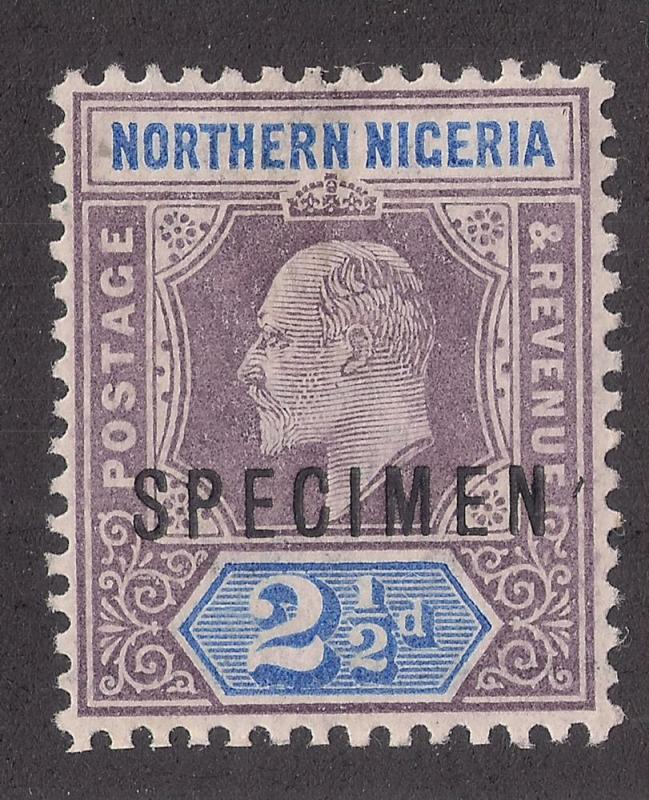 NORTHERN NIGERIA: 2 1/2d Key Plate Issue #13 o/p Specimen