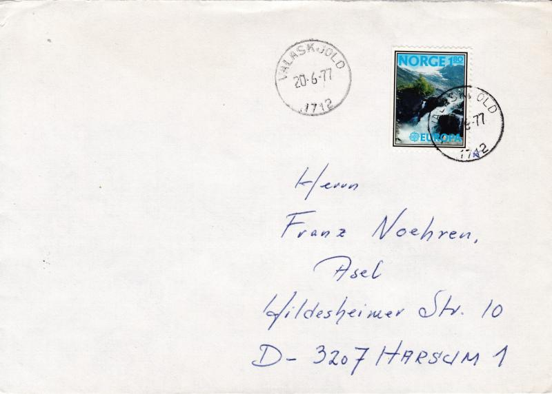 Norway 1977 Cover Single Franked with 1.80kr.Europa Domestic use VF