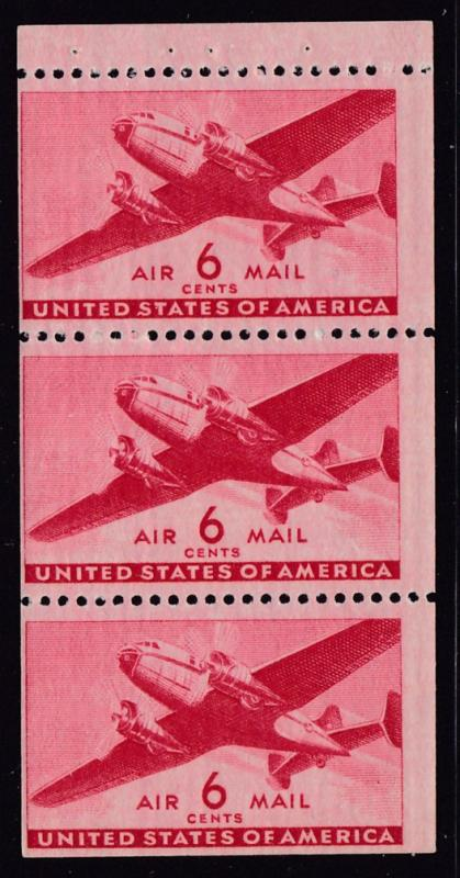 United States 1941  6cent transport Booklet Pane of 3  F/VF/NH