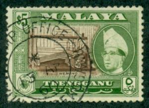 Malaya-Trengganu #85a  Used  CV $30.00   Perf 13 x 12 1/2