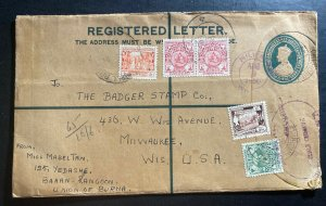 1950 Rangoon Burma Registered Letter Stationery Cover To Milwaukee WI Usa