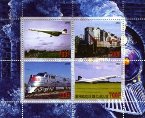 CONCORDE & TRAINS Sheet (4) Perforated Mint (NH)