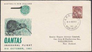 AUSTRALIA 1961 Qantas first flight cover to Wellington New Zealand..........P318