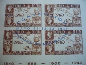 Stamps - Cuba-Scott# C38 &C39 Used & Mint Hinged Airmail Stamps on Menu/S Sheet