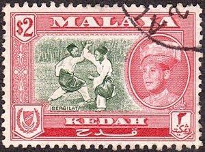 MALAYA KEDAH 1959 $2 Bronze-Green & Scarlet SG113 FU