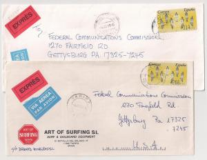 SPAIN 2 covers w/ Epelsa PO stamps High Rates 4 Express meter