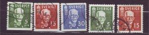 J22837 JLstamps 1938 sweden set used #275-9 king