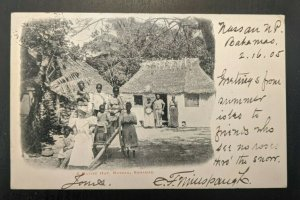1905 Native Hut Nassau Bahamas to Chicago IL Real Picture Postcard RPPC Cover