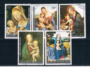 Upper Volta C129-33 Used set Christmas 1973 (U0336)