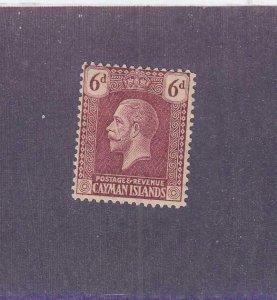 CAYMAN ISLANDS (MK6543) # 58 VF-MH  6p 1921-26 KING GEORGE V / CLARET