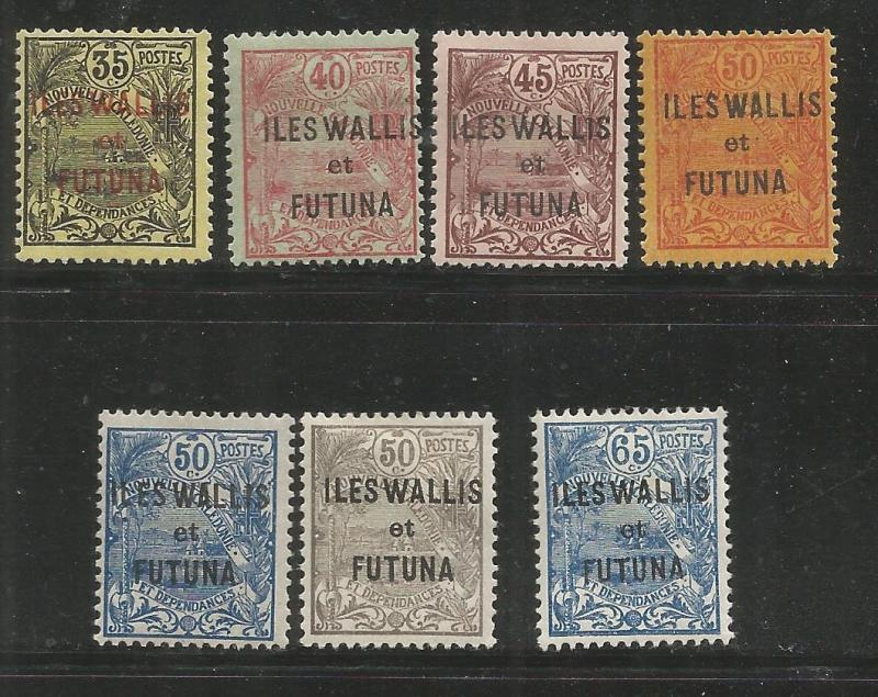 WALLIS & FUTUNA  17-23  MINT HINGED, NEW CALEDONIA STAMPS OF 1905-28 OVERPRINT