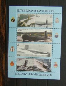 BIOT 2001 Centenary of Royal Navy Submarine Service Miniature Sheet MNH