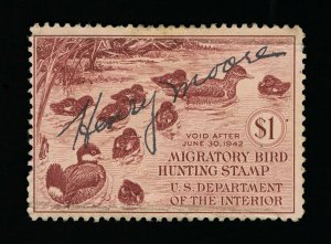 VERY AFFORDABLE GENUINE SCOTT #RW8 F-VF USED 1941 FEDERAL DUCK STAMP #13193
